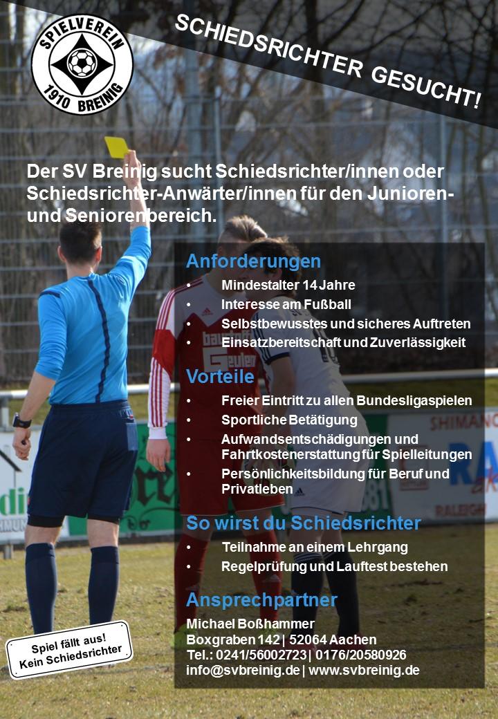 Der SV Breinig sucht Schiedsrichter/innen
